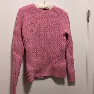 Pink Wool Crew Neck Cable Knot Sweater from Gap